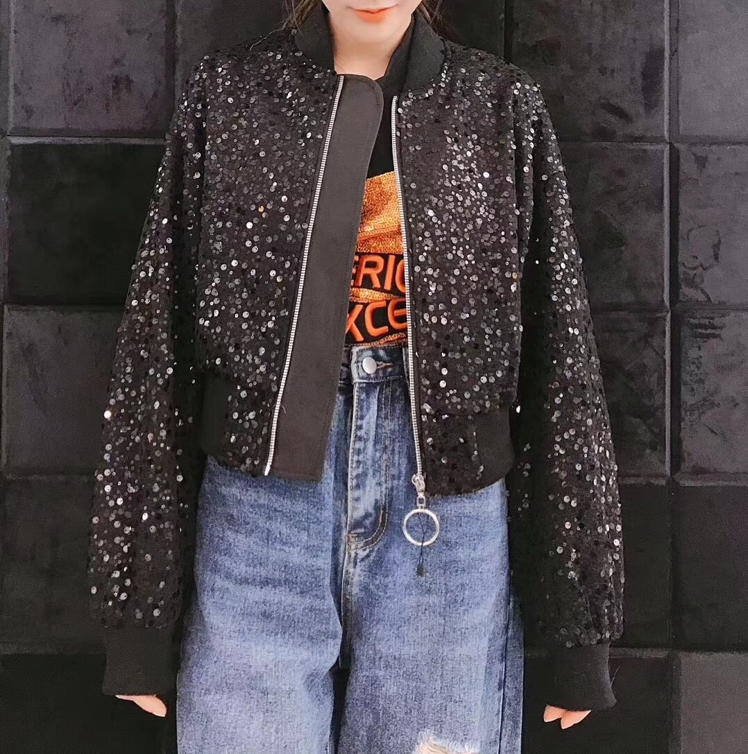 Autumn and winter 2019 East Gate new fashion trend short womens coat heavy industry Sequin Hong Kong retro Long Sleeve Jacket