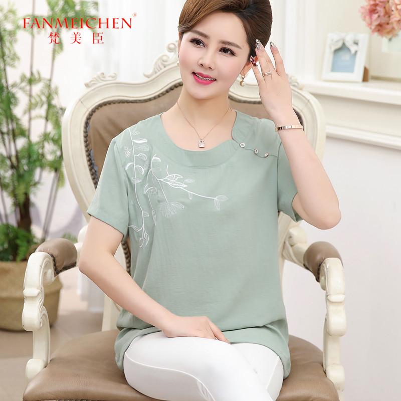 中年女夏装2018新款胖妈妈装短袖T恤衫中老年女装40-50岁大码上衣