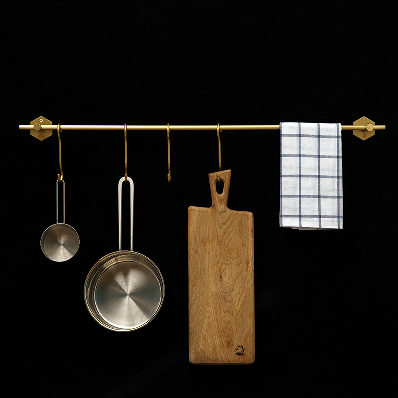 Copper-owned Nordic brass kitchen hanger rod, non-perforated shelf, bathroom, bathroom and bathroom hook single rod
