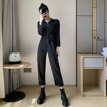 Autumn Korean Version 2019 New Style Handsome Wear High-waist Joint Pants Women's Loose BF Slim Leisure Broad-legged Dresses