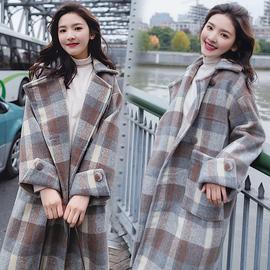格子毛呢外套女中长款2020流行大衣学院风妮子衣服秋冬呢子小个子