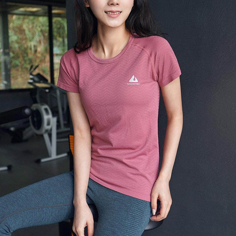岚纹运动上衣女短袖宽松健身服速干T恤圆领透气瑜伽跑步罩衫夏季