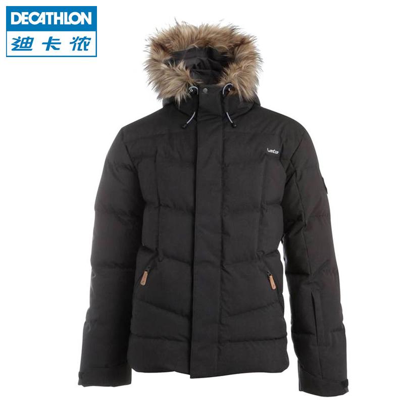 迪卡侬WEDZE1户外羽绒服男保暖防水滑雪服毛领男士羽绒衣冬外套