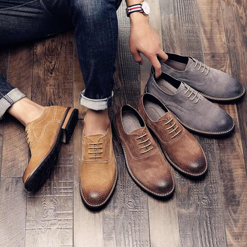 Men's shoes summer leather breathable hair stylist pointed British style casual shoes suede block carved leather shoes