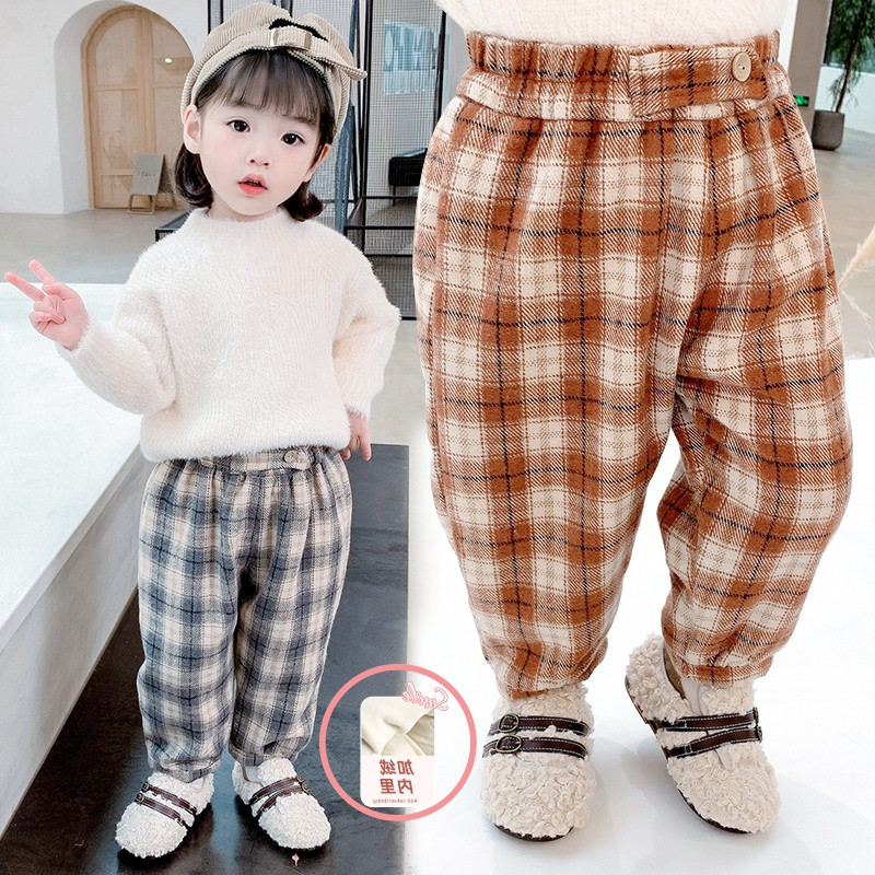 Fashion girl 3 Plush casual pants childrens wear winter Plush Plaid childrens Worsted pants