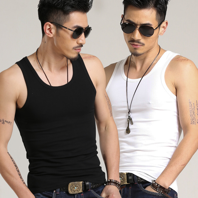 Mens modal cotton seamless tank top slim slim and tight summer hurdle sports wear inside the bottoming fir trend