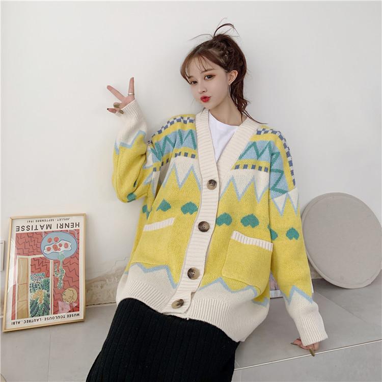 秋季女装2019新款韩版毛衣学生女宽松外穿长袖针织开衫外套ins潮