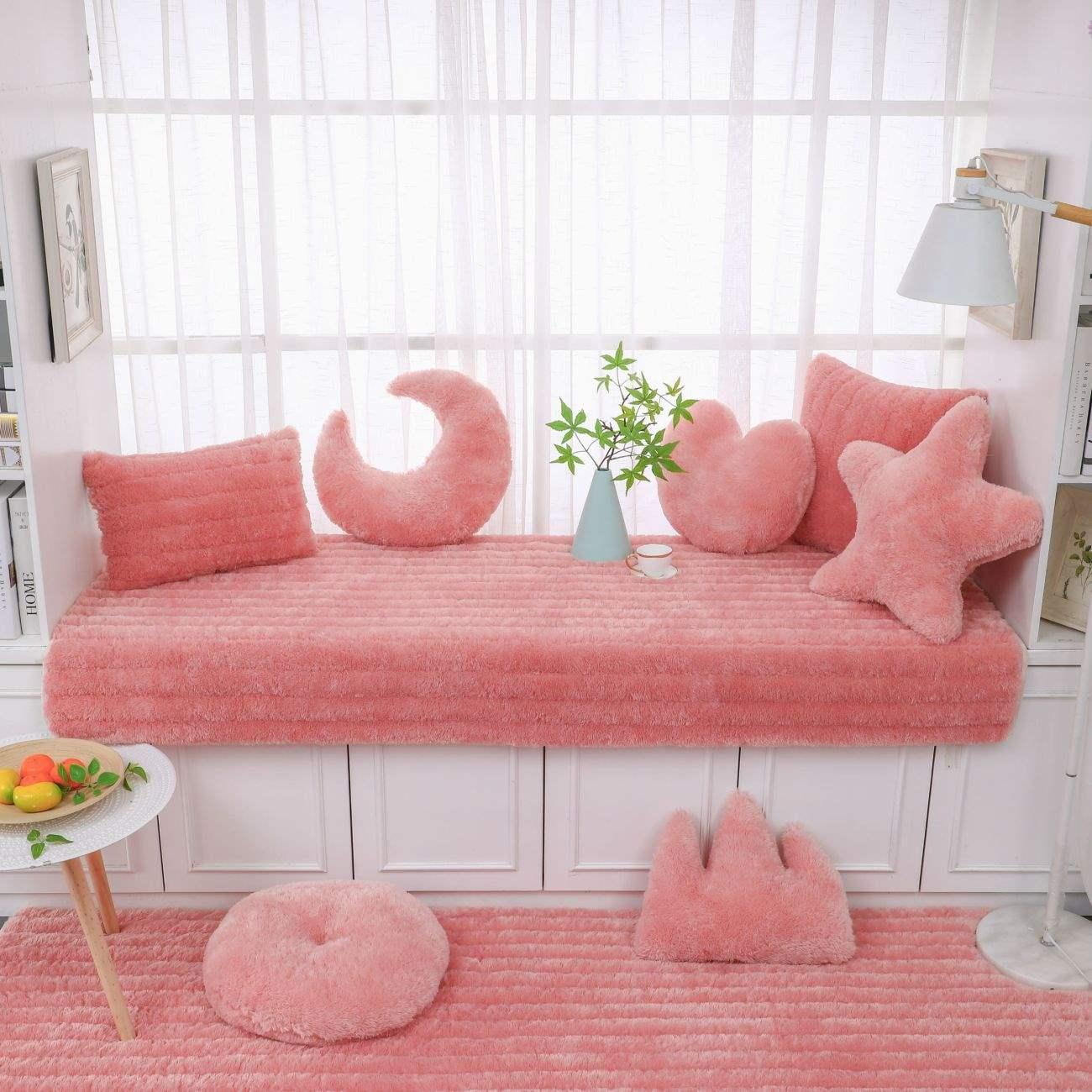 飘窗垫榻榻米垫简约毛绒四季窗台垫坐垫卧室加厚防滑沙发垫可机洗10月17日最新优惠