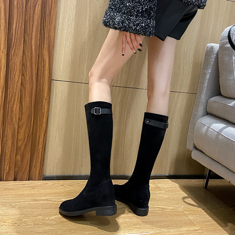 Knee length boots inside tall little boots childrens winter 2020 new slope heel zipper thick bottomed middle boots