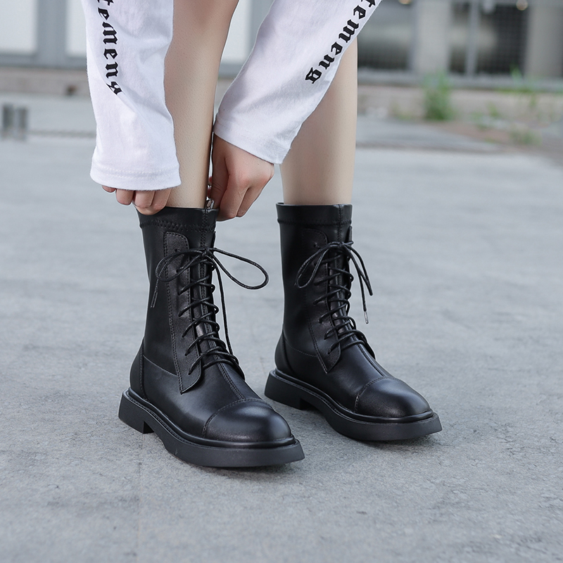 Elastic boots mid tube boots 2020 new breathable thin boots lace up thick heel short boots thin fashion womens Boots