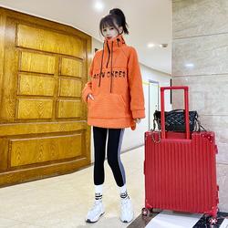 橘色羊羔毛卫衣女冬冬欧洲站2020新款加绒加厚半拉链套头上衣潮