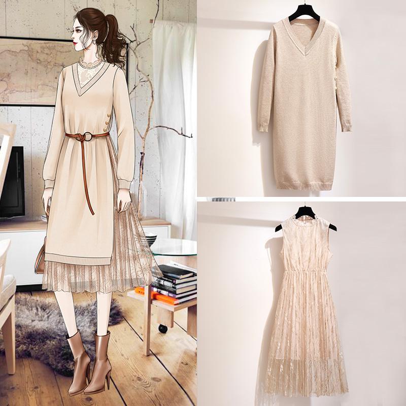 法式复古裙山本针织毛衣裙两件套女秋冬季法国小众连衣裙冬裙超仙