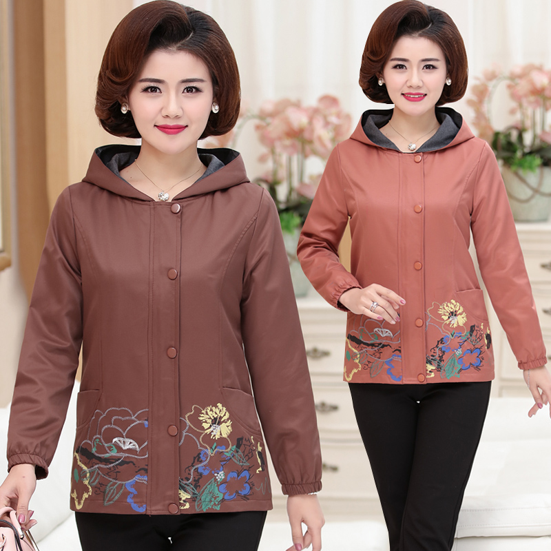 Spring and autumn womens Hooded Jacket middle-aged and old mothers mother-in-law embroidered windbreaker loose top fattened and enlarged pocket