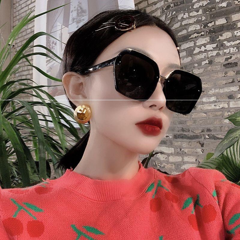New large square Polarized Sunglasses Womens fashionable square round face long face Sunglasses Korean version tide net red glasses black