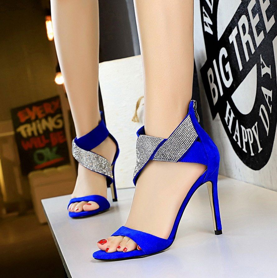 Suede Sandals thin heel 9926 banquet open toe Diamond Cross new European and American style womens shoes 2-line high heels