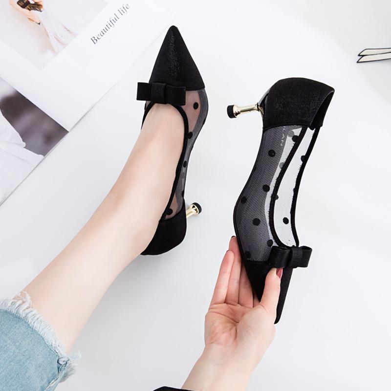 新款浅口鞋子女工作鞋职业中跟性感波点尖头细跟单鞋网纱高跟鞋女