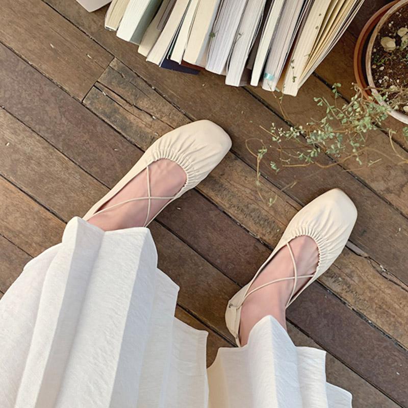2020 summer retro Korean New Womens shoes ballet shoes bandage single shoes fairy Mary Jane shoes casual flat shoes