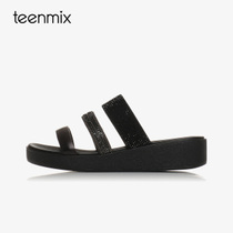 6Z915BT7天美意夏季新款专柜同款一字型平底坡跟女凉鞋拖鞋