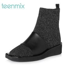 Tianmei Yi2017 Winter Shopping Mall with the same cloth fashion flat heel socks, boots and short boots CC340D7