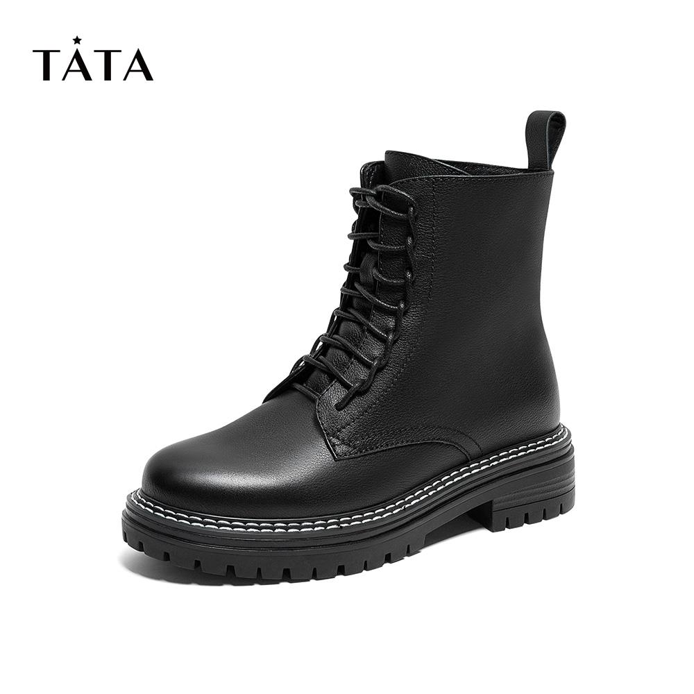Tata/he she thick-soled Martin boots women plus velvet zipper square heel short boots autumn and winter new style BGV01DD9