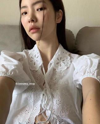THESUMEY2021夏季绑带法式泡泡袖白衬衫女夏短袖设计感小众上衣