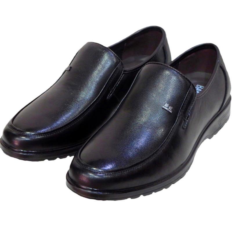 邦伦新款男士皮鞋真皮正装男鞋潮流商务休闲软皮透气套脚爸爸鞋子