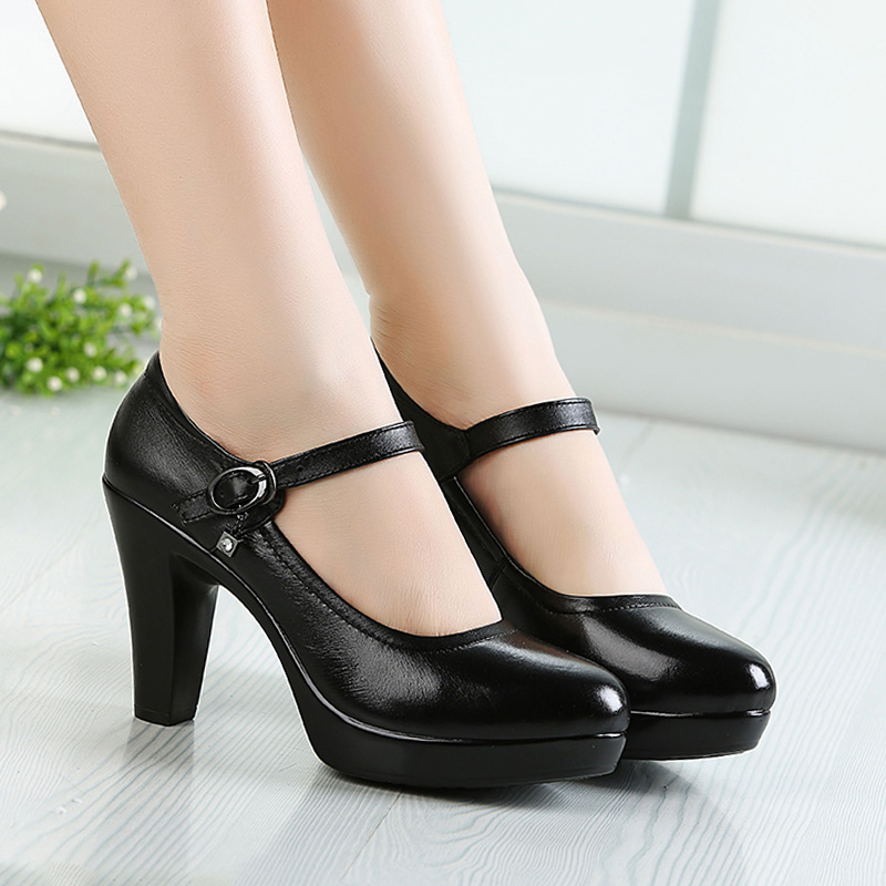 Cowhide walk show high heels leather round head 9cm single shoes womens thick heel waterproof platform one line performance model leather shoes black