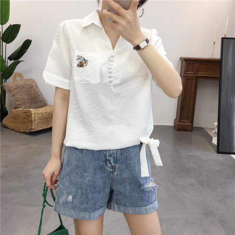 包邮女棉质短袖衬衫半套头衬衣韩版休闲气质打结上衣竖条纹衬衫