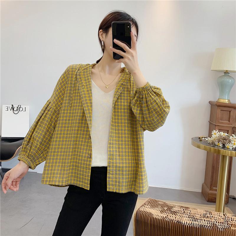 惠衣阁女棉质长袖韩版宽松格子衬衫(非品牌)
