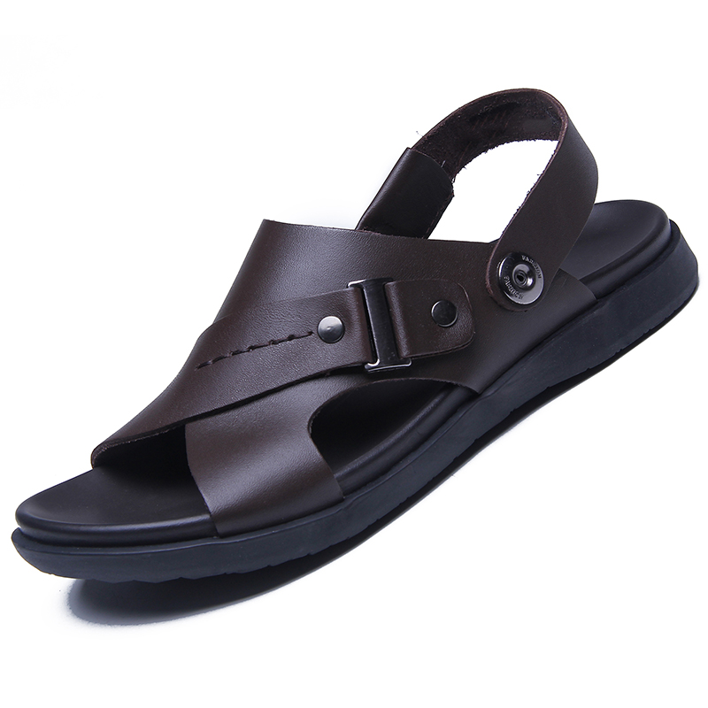 Men's sandals leather 2020 new summer cow leather thick bottom senior beach middle age leisure lazy sandal trend
