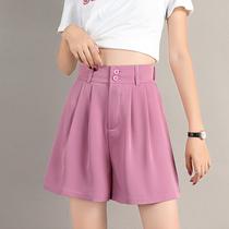 夏季薄款雪纺高腰西装短裤女垂感a字阔腿五分裤宽松直筒中裤粉色