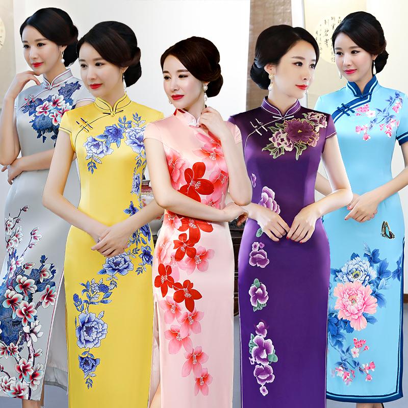 短袖丝绸黄色女士长旗袍长款优雅走秀中国风牡丹好看漂亮的旗袍女