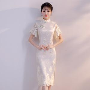 改良新式旗袍连衣裙女秋改良少女年轻中国风短款气质优雅蕾丝白色