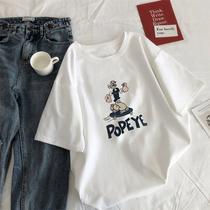 韩版大码女装夏季短袖t恤200斤胖mm宽松网红百搭白色半袖ins上衣