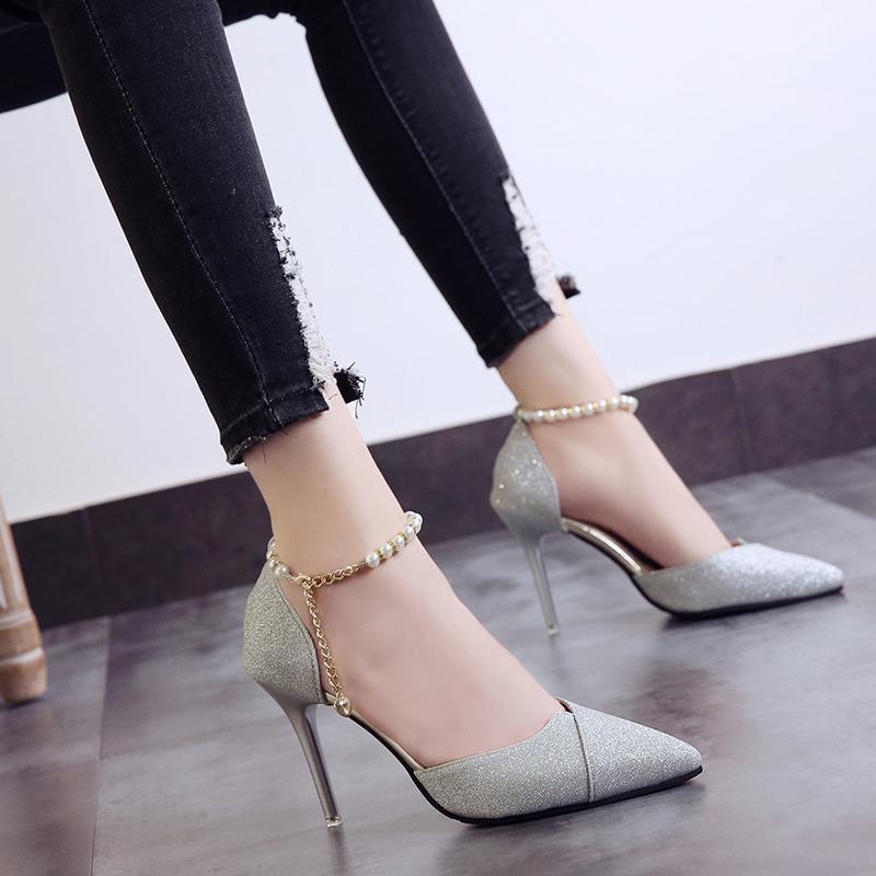 2018春夏季新款高跟凉鞋女串珠尖头银色女鞋细跟单鞋韩版百搭鞋子