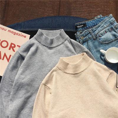 秋冬季男士毛衣新款纯色修身半高领针织衫潮男线衫A262-C107-P35