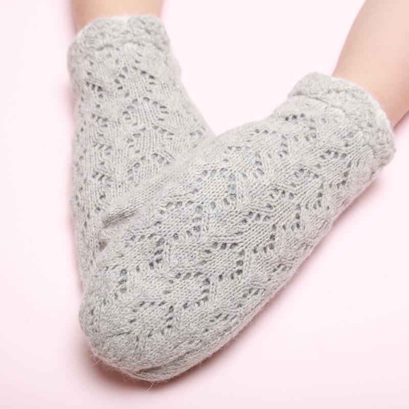 韩版可爱甜美手套女秋冬镂空羊毛针织手套加绒加厚日系保暖毛线