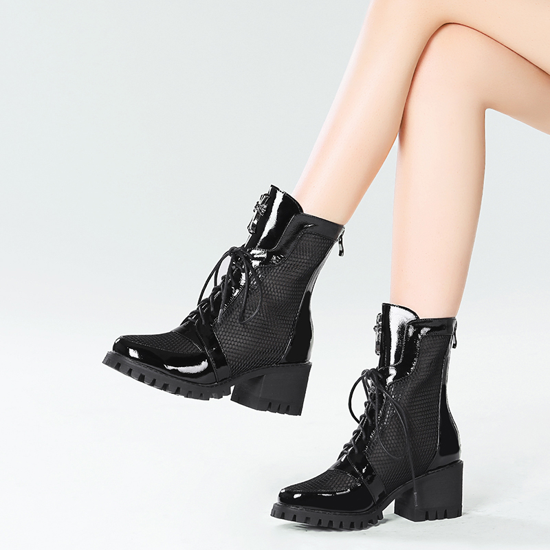 Hollow short boots womens thick Heels NEW back zipper in summer 2020 Martin boots breathable mesh short tube Roman cool boots