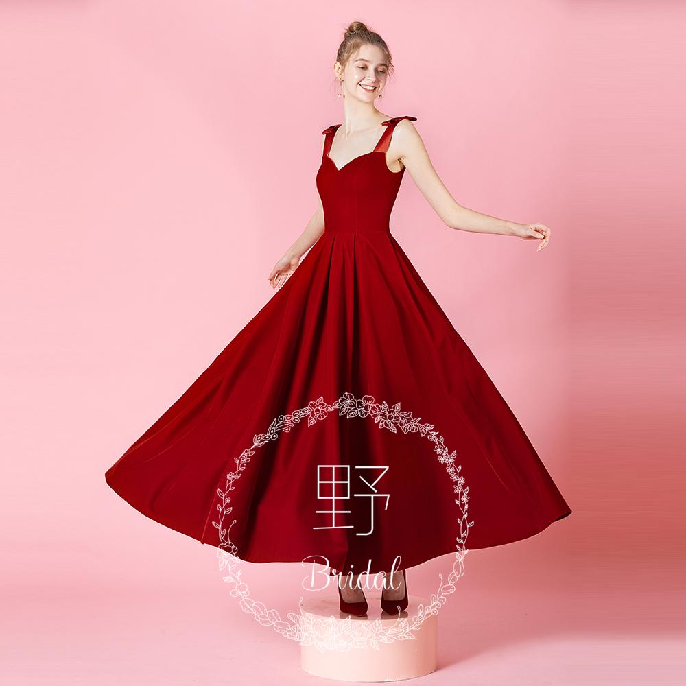 茉野婚纱礼服系列「玫瑰园」2019夏季吊带长款红色丝绒新娘敬酒服