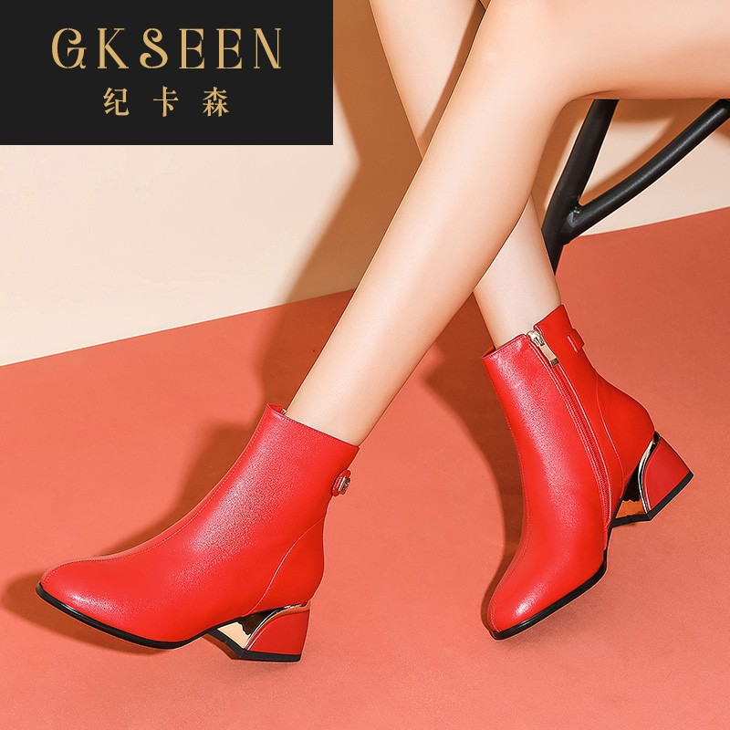 Gkseen short boots womens thick heel autumn winter womens boots round head medium high heels fashion red low rise boots plush rf0923
