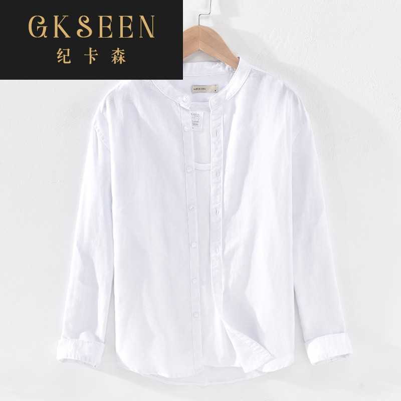 Gkseen casual Linen Shirt Mens literary youth round neck long sleeve loose and breathable cotton linen white shirt rf0825