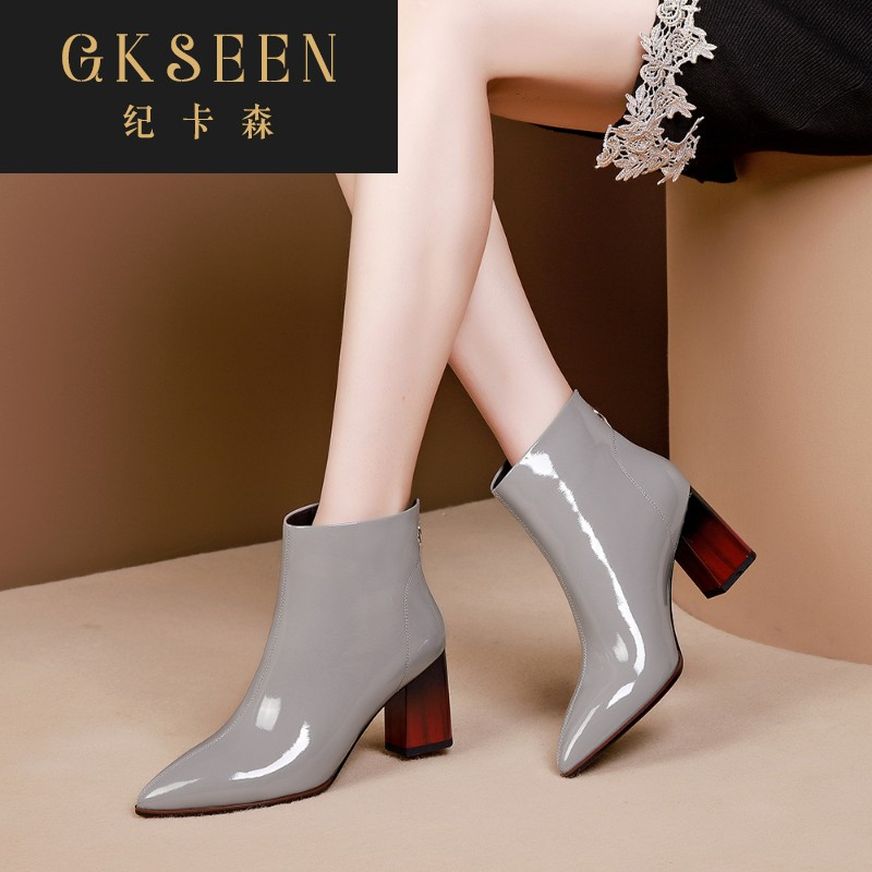 Gkseen grey short boots womens thick heel back zipper womens boots Korean patent leather pointed point Martin boots autumn rf0913