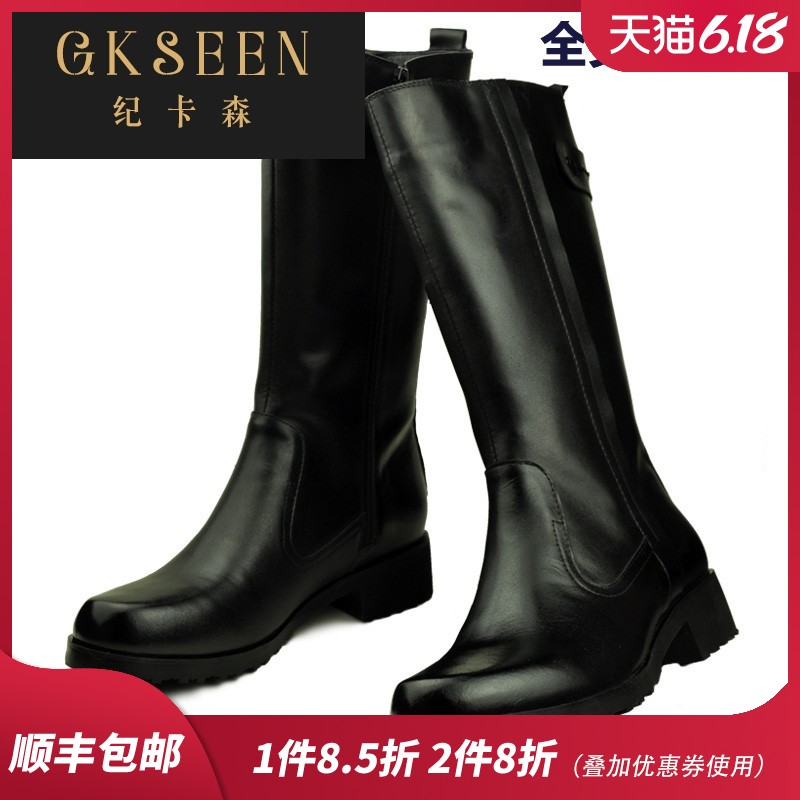 Gkseen winter all leather riding boots mens boots leather long tube warm high barrel Knight riding boots military boots ct1211