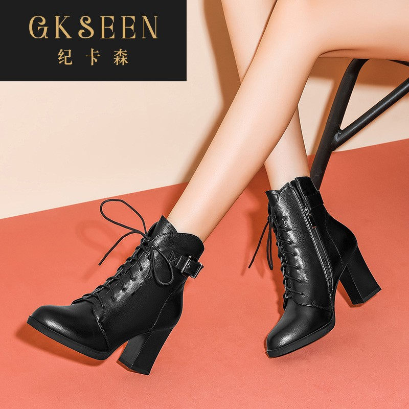 Gkseen waterproof platform high-heeled boots new Martin boot top leather round head lace up fashion boots rf0923