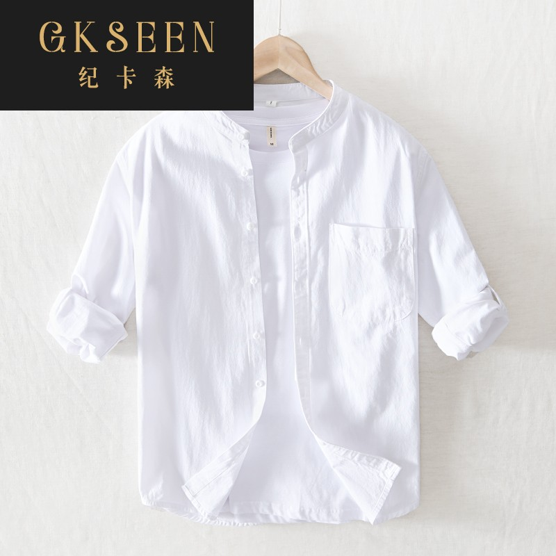 Gkseen pure cotton Chinese style round neck mens long sleeve shirt mens wear young and middle-aged casual white shirt rf0825