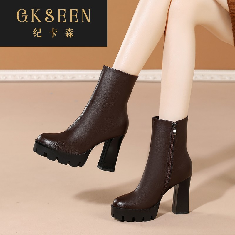 Gkseen womens boots spring and autumn single boots Beige thick heel short boots womens shoes Martin boots womens British style high heels rf0913