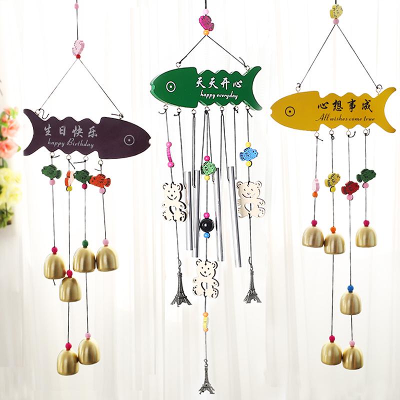 小屋门窗风信子装饰品便携儿童风铃悬挂时尚铜铃铛温馨大方木质