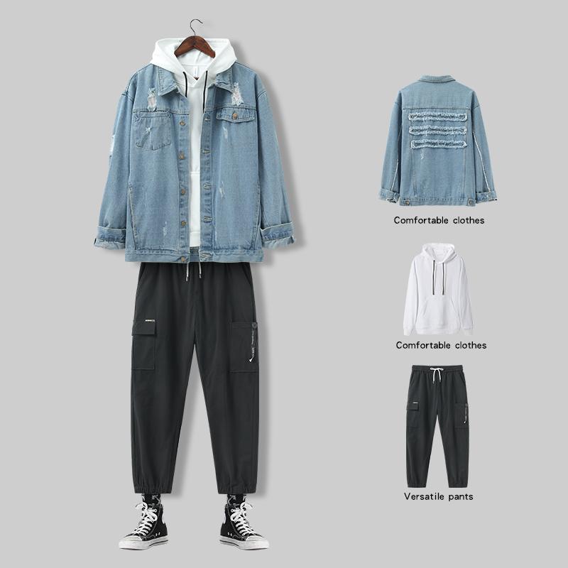 牛仔外套男生春秋季韩版潮流工装套装男装一套搭配帅气夹克上衣服