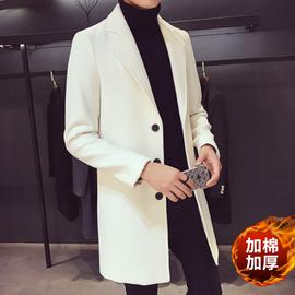 男风衣外套秋装2020新款中长款韩版潮流帅气毛呢子大衣男潮牌加厚