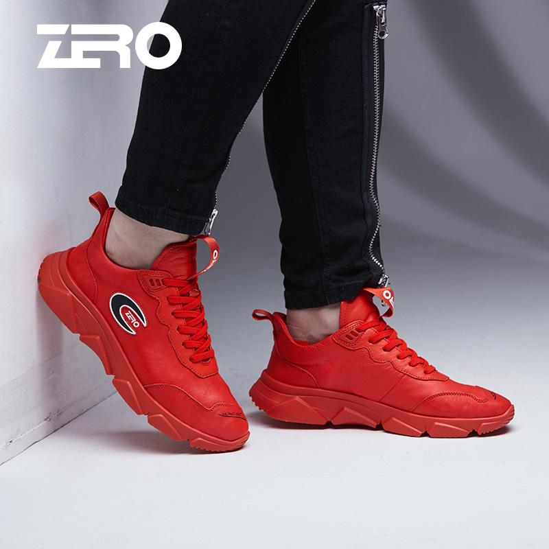 Zero零度时尚休闲鞋2018新品户外休闲鞋系带超轻真皮潮流男鞋